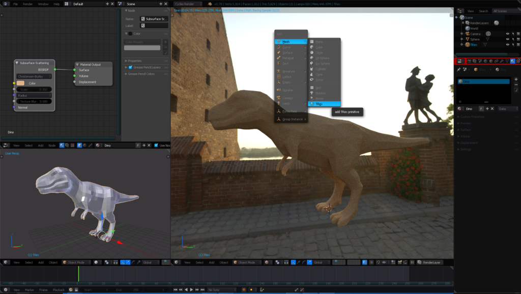 Softimage Trex base mesh, added to Blender via Creaprim addon.