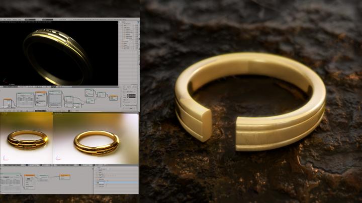 Gold CG ring on Blender