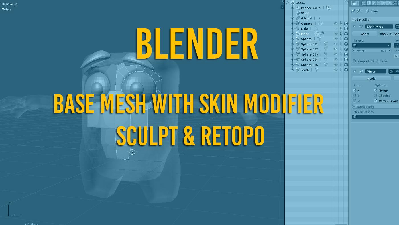 Blender create base mesh - sculpt - retopo in 16 minutes